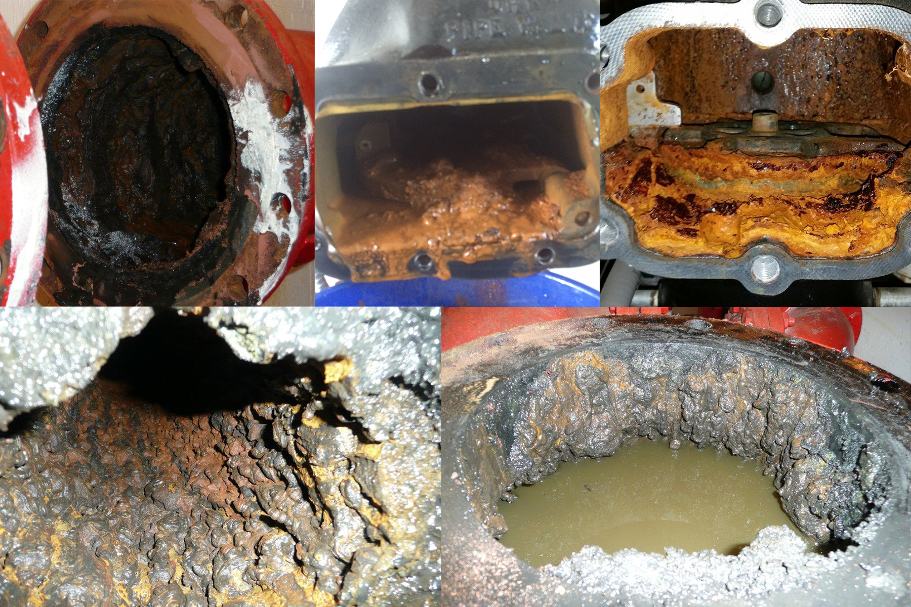 Examples of piping buildup with slime, sludge, rust, etc.